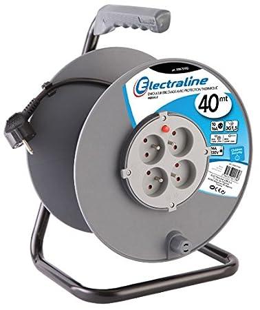 Electraline 20867018F Rallonge Prolongateur /électrique 25 m avec enrouleur 4 Prises 16 A section 3G1,5 mm/² Gris