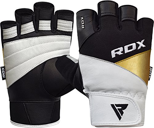 RDX Weight Lifting Gloves Gym Fitness Workout Powerlifting Bodybuilding Exercise Cowhide Leather Breathable Wrist Support Strength Training