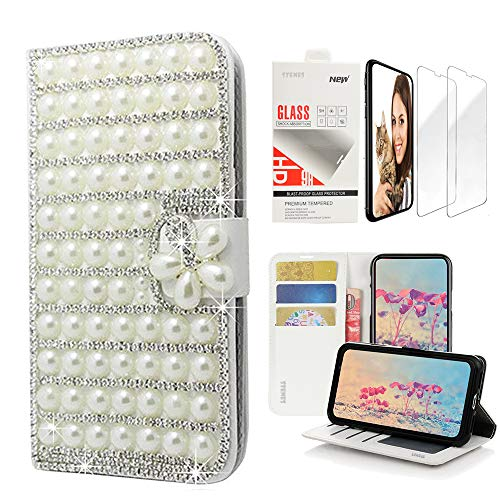 STENES Bling Wallet Case Compatible with iPhone X/iPhone Xs - 3D Handmade Pearl Lattice Flowers Design Leather Case with Wrist Strap & Screen Protector [2 Pack] - - Strap Crystal Lovely Charm