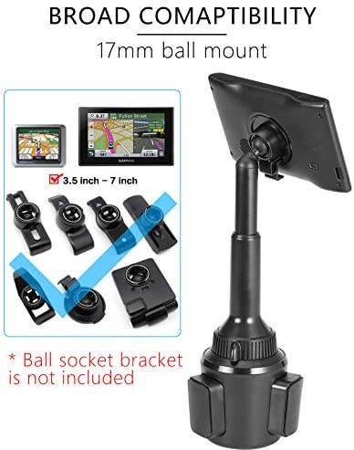 1Zero GPS Cup Holder Mount for Car Truck with Adjustable Height Arm, Replacement Cupholder Ball Mount Compatible with Garmin Nuvi Drivesmart RV Dezl Drive Zumo Driveassist DriveLuxe Portable Navigator