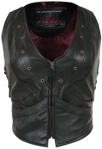 Pokerun Vixen Women's Leather Cruiser Motorcycle Vest - Black / X-Small