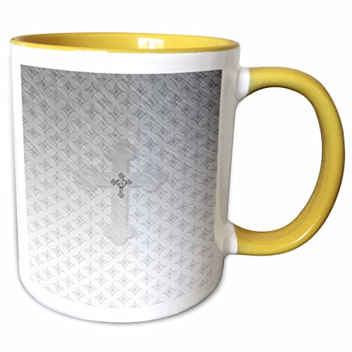 (3dRose Beverly Turner Religious Design - Silver Cross with Jewel Look on Larger Silver Cross - 15oz Two-Tone Yellow Mug (mug_180925_13))