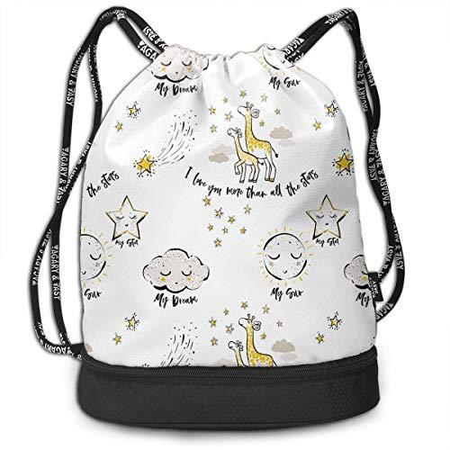 YyTiin Cloud Sun Crescent Moon Giraffe Men Women Waterproof Drawstring Backpack Sports Dance Storage Bags Sackpack Gym Traveling Outdoor