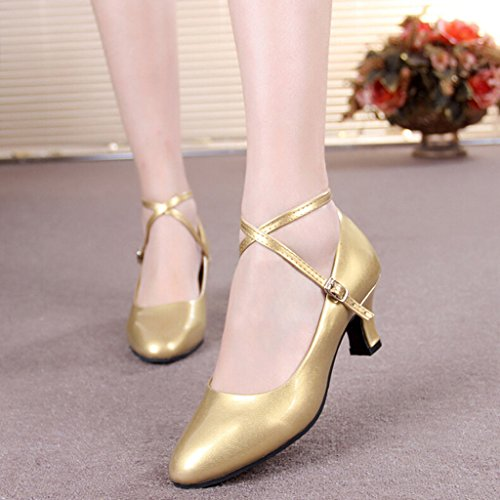 Women's Patent Leather Cross Straps Kitten Heel Latin Dance Shoes Golden/Leather Sole/3.5 ZPFZMp4