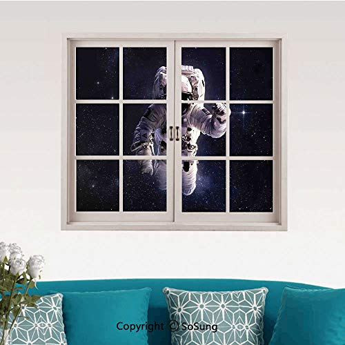 (Galaxy Removable Wall Sticker/Wall Mural,Astronaut in Outer Space Stardust Nebula in Milky Way Cosmonaut Apollo Art Creative Close Window View Wall Decor,24
