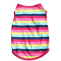 Howstar Pet Shirt, Cotton Stripe Puppy Vest Spring Clothes for Dog Cat Cute Sweatshirt (S, Hot Pink)