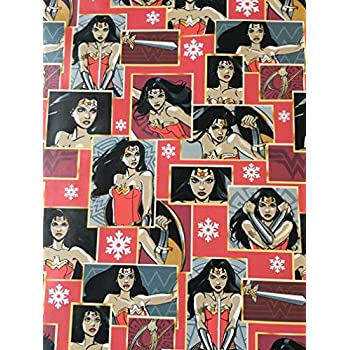 Justice League Wonder Woman Birthday Holiday Gift Wrapping ... |Wonder Woman Wrapping Paper