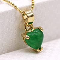 Siam panva New Heart Green Jade 18K Yellow Gold Plated Pendant Elegant Women Jewelry