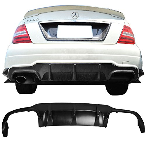 Rear Bumper Diffuser Fits 2012-2014 Benz C Class C204 W204 | Unpainted Raw Material Black ABS Splitter Valance Underbody Bumper Fascia Add On by IKON MOTORSPORTS
