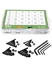 Machine Screw M2 M3 M4 M5 Carbon Steel Bolts and Nuts Hex Round Cup Head Screws and Washer Wrench kit 480 PCS