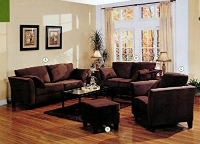 Park Place Living Room Sofa Set in Chocolate Finish