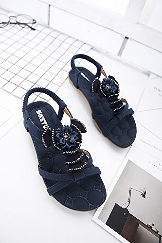 Insun - Sandalias de vestir de Material Sintético para mujer azul marino
