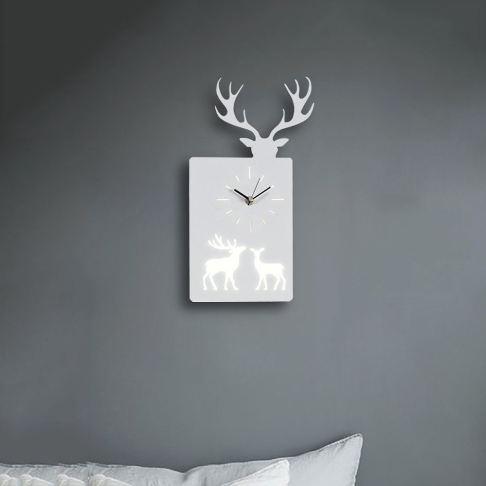 Creative Practical Elephant Deer Animal Clock LED Iron Wall