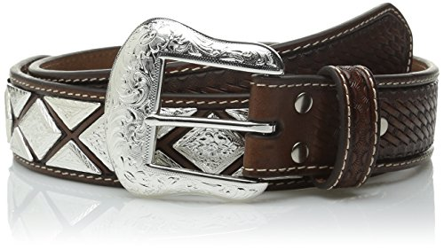 Nocona Belt Co. Men's Metal Shield Scalop 3-Tone Raw, Tan, 44 (Diamond Shaped Conchos)