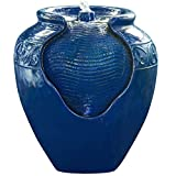 Peaktop YG0036AZ - Outdoor | Indoor Glazed Pot Floor Fountain w/LED light - Royal Blue