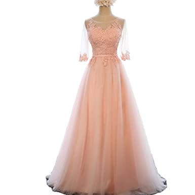 Kivary Peach-pink Sheer Half Sleeves Tulle Lace Appliques A Line Coset Prom Evening Dresses