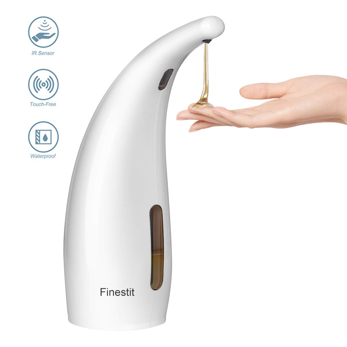 Finestit Soap Dispenser, Automatic Soap Dispenser,Electric Dish Soap Dispenser Suitable for Bathroom Kitchen Hotel Restaurant (White, 300ML)
