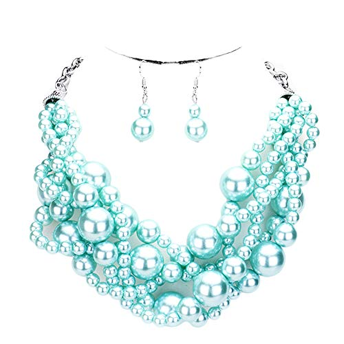 Fashion 21 Women's Simulated Faux Braided, Twist Multi-Strand Pearl Statement Collar Necklace and Earrings Set (Twisted - Light Blue)