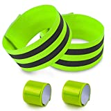 night gear - 4 pcs Reflective Bands for Wrist, Arm, Ankle, Leg. High Visibility Reflective Gear for Night Walking, Cycling and Running. Safety Reflector Tape Straps. Very Large Reflective Surface Area