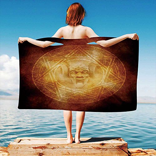 iPrint Horror-House-Decor Quick Dry Plush Microfiber (Towel+Square scarf+Bath towel) Demon-Trap-Symbol-Logo-Ceremony-Creepy-Ritual-Fantasy-Paranormal-Design And Adapt to any place by iPrint