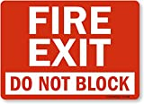 Smartsign S-1640-PL-14'Fire Exit, Do Not Block' Plastic Sign, 10' x 14', Black/Red on White
