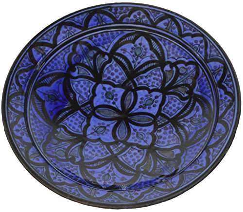 Ceramic Plates Moroccan Handmade Serving, Wall Hanging, Exquisite Colors Decorative 14 inches Diameter ()