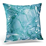 3d crystal gems - Breezat Throw Pillow Cover Arctic 3D Render Digital Blue Crystal Abstract Glass Gem Geometric Shapes Aquamarine Beautiful Decorative Pillow Case Home Decor Square 20x20 Inches Pillowcase