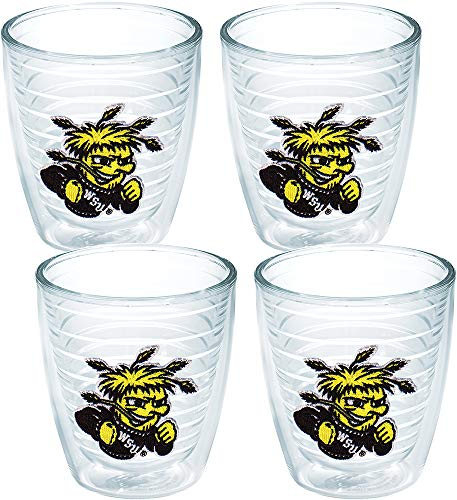 State Bottle Wichita Shockers - Tervis 1007987 Wichita State Shockers Logo Tumbler with Emblem 4 Pack 12oz, Clear