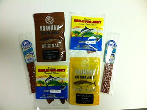 Ultimate Fish Jerky Sampler Gift Pack (6pk)- Ahi Tuna Jerky Honey Glazed (2.75oz), Ahi Tuna Jerky Original (2.75oz), Hawaiin Marlin Jerky Teriyaki (1oz), Hawaiin Marlin Jerky Lemon Salt (1oz) & Alaskan Salmon Jerky (2.5oz) (Days 1 Oz Sampler)