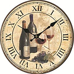 Moonluna Wine Vintage Wooden Wall Clock Battery Operated Roman Numerals Silent Non-Ticking 12 Inches Kids Clock