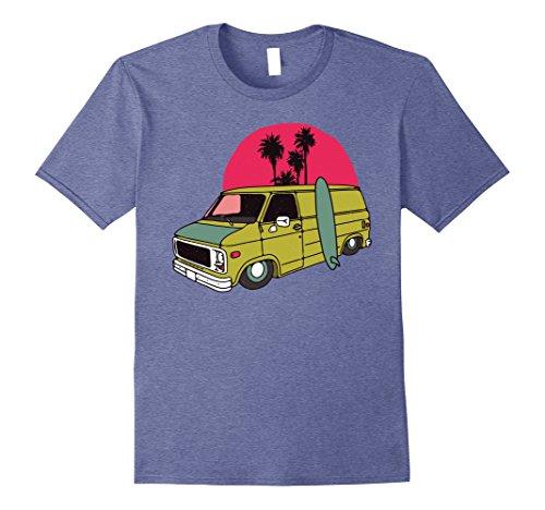 Trip Road American Traditional (Mens Old School Low Rider Vintage Van Tshirt - Sun Surf Palms Tee 2XL Heather Blue)