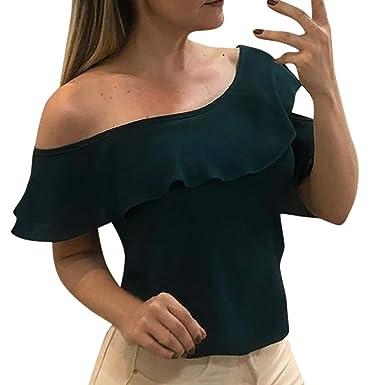 58a2677f568887 Women's Chiffon Top,One Shoulder Loose Casual Ruffle Hollow Out Tunic  Blouse Shirt (S