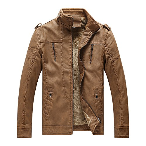 - YIMANIE Men's Vintage Casual PU Leather Jacket Waterproof Motorcycle Jacket Biker Windbreaker