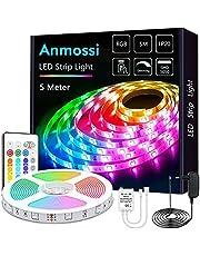 Anmossi LED Strip 5m/10m,RGB LED Strip met IR Afstandsbediening,Kleurwissel en Dimbare LED Strip Lights,SMD 5050 LED Chips Verlichting LED Strip Kit voor Thuis,Slaapkamer,Feestdecoratie…