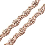 Yanstar Wedding Bridal Rose Gold Rhinestone Applique Trim Crystal Iron On Applique for Dress Sash Garter Belt 1 Yard