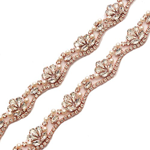Yanstar Wedding Bridal Rose Gold Rhinestone Applique Trim Crystal Iron On Applique for Dress Sash Garter Belt 1 Yard ()