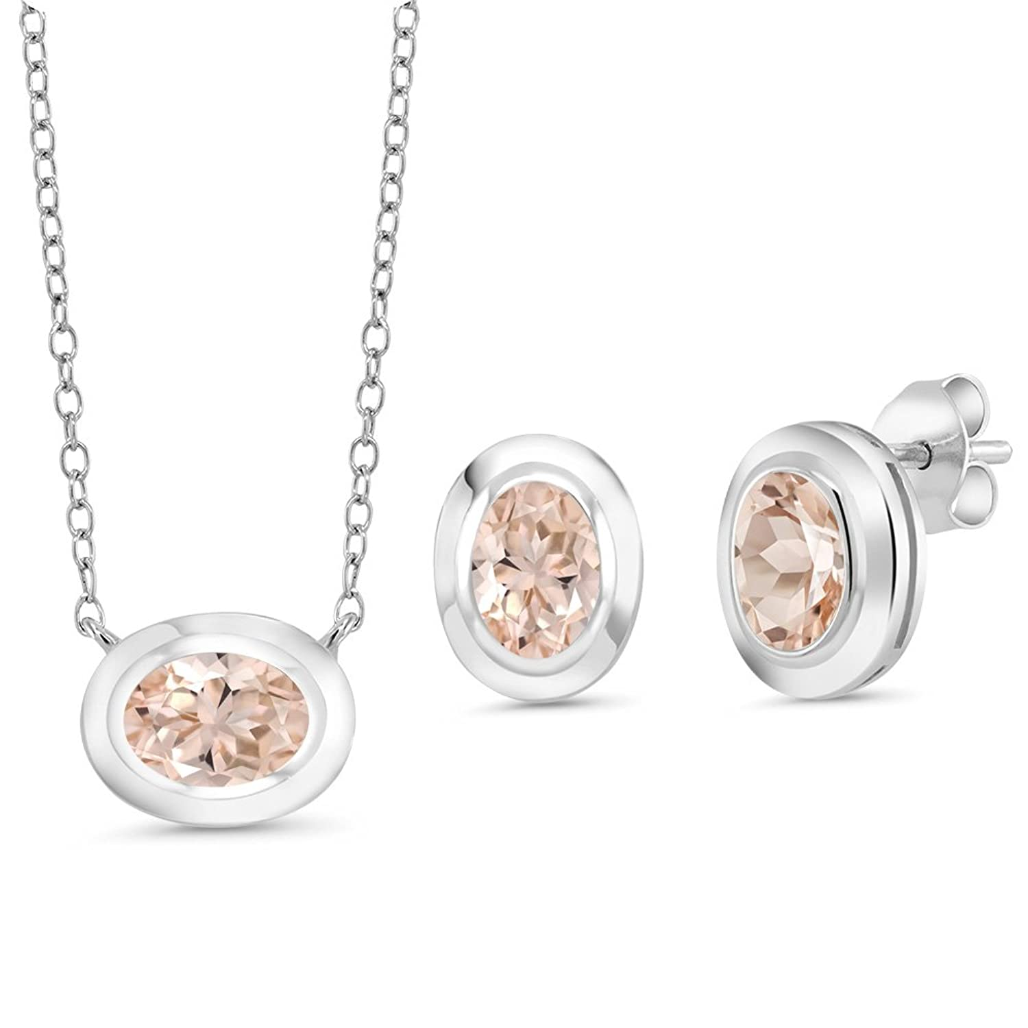 1.95 Ct Oval Peach Morganite 925 Sterling Silver Pendant Earrings Set With Chain