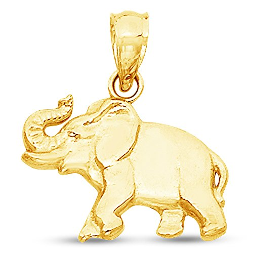 Sonia Jewels 14K Yellow Gold Elephant Pendant Charm (11x16 mm) ()