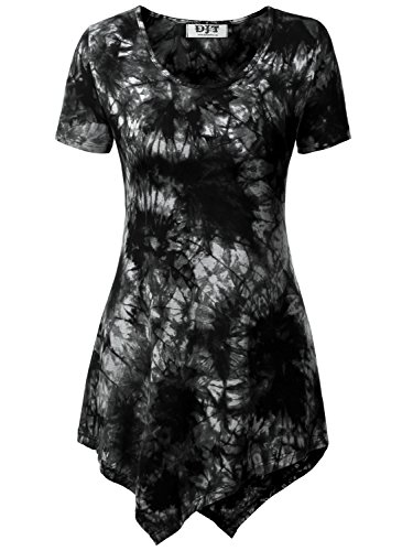 DJT Womens Short Sleeve Tie Dyed Handkerchief Hem Tunic X-Large Tie Dye_Black (Tie Dyed Shirt)