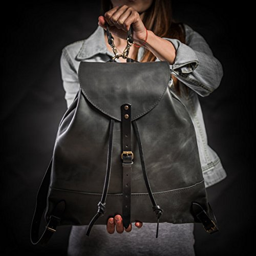 Leather backpack Woman backpack Ladies backpack Women's daily pack Black leather backpack Small backpack Women's gift by Kruk Garage