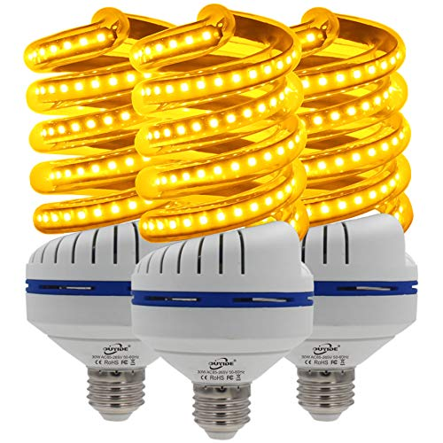 OUYIDE Yellow LED Bulbs, Outdoor Porch Lights, Amber Bedroom Night Light Bulb A25 Bulbs, 200W Equivalent E26 Socket(30W), Warm LED Hallway Lighting Decorative Lamps(UL listed)