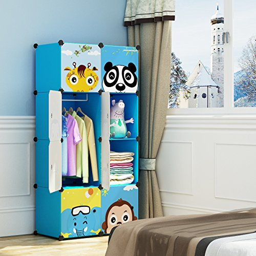 MAGINELS Children Wardrobe Kid Dresser Cute Baby Portable Closet Bedroom Armoire Clothes Hanging Storage Rack Cube Organizer Large Blue 6 Cube & 1 Hanging Section