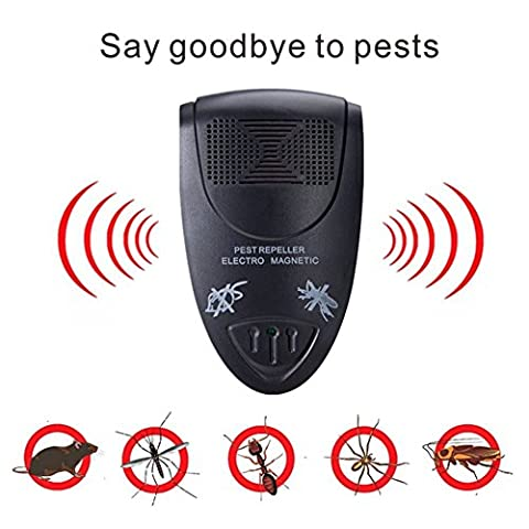 Pest Repellent, Electronic Ultrasonic Pest Repeller for Mice, Cockroaches, Mosquitoes,Spiders,Bed Bugs, Flies and more by Faladi Black (1)