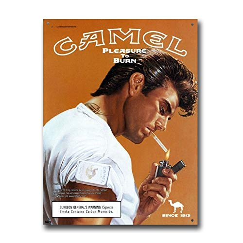 Camel Cigarettes Pleasure to Burn Vintage Retro Tin Sign Metal Sign TIN Sign 7.8X11.8 INCH (Cigarettes Poster)