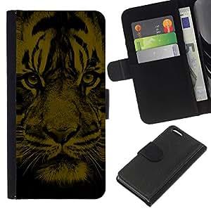 // PHONE CASE GIFT // Moda Estuche Funda de Cuero Billetera Tarjeta de crédito dinero bolsa Cubierta de proteccion Caso Apple Iphone 5C / Tiger Face /