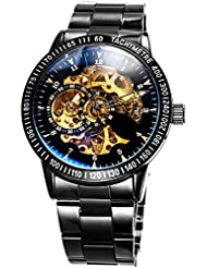 Mens Black Stainless steel Gold dial Steampunk Skeleton Luxury Casual Automatic Mechanical Wristwatch