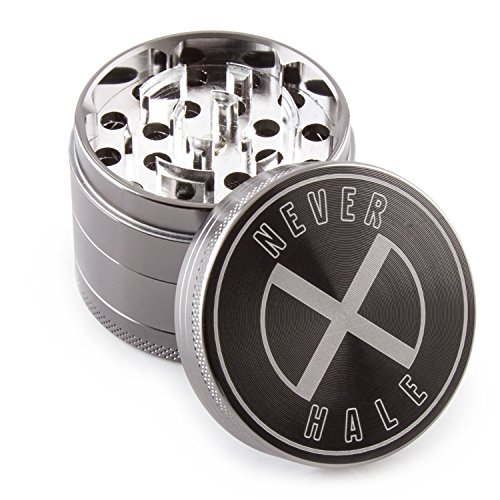 NeverXhale Cruved Blade Tech 4 Piece 2.0″ Inch Herb Spice Grinder with Scraper & Pollen Catcher – Gray For Sale