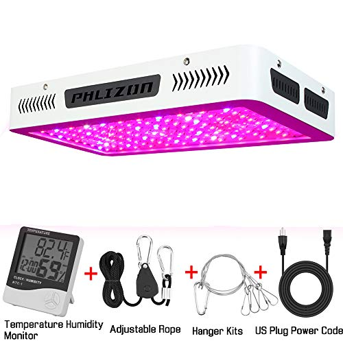 Phlizon Newest 1200W High Power Series Plant LED Grow Light,with Thermometer Humidity Monitor,with Adjustable Rope,Double Chips Full Spectrum Grow Lamp for Indoor Plant