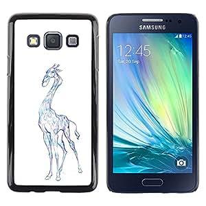 Be Good Phone Accessory // Dura Cáscara cubierta Protectora Caso Carcasa Funda de Protección para Samsung Galaxy A3 SM-A300 // Giraffe Art Drawing Colorful Pencil Blue