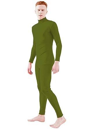 b6ff4c9baef3 Ensnovo Adult Lycra Turtleneck Long Sleeve One Piece Unitard Dancewear Army  Green